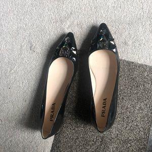 Prada Pointed Toe Jeweled Ballerina Flats